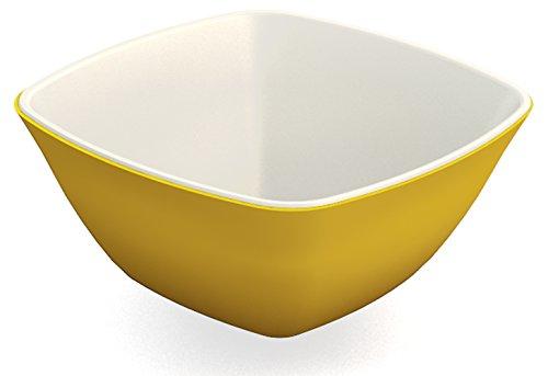 Ornamin Schale 150 ml gelb (2er Set), Melamin | kleine, leichte, eckige Kunststoffschale | robustes Alltags-Geschirr für zu Hause, Camping, Picknick, BBQ, Gemeinschaftsverpflegung | Dessertschale, Nachtischschälchen, Reisschale, Tapasschale, Dipschale