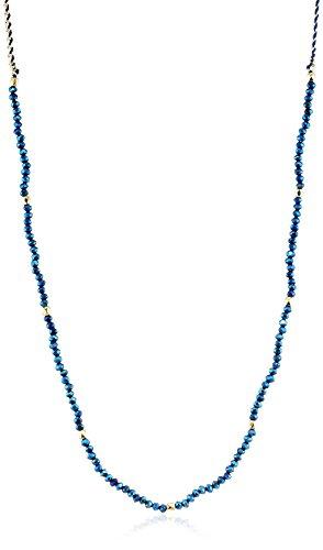 Fiorelli Costume Damen-Lang Metallic Blau und Gold-Halskette Perlen 116–1122cm (Blau Metallic-perlen-halskette)