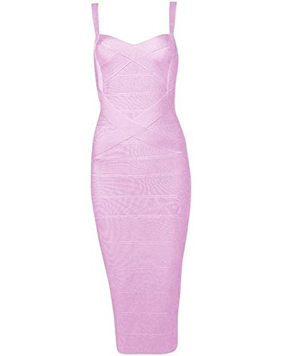 Whoinshop Damen Rayon Strap Mid Kalb Längen Abend Party Bodycon Kleider Abendkleid Rosa S (Party-kleid Seide)