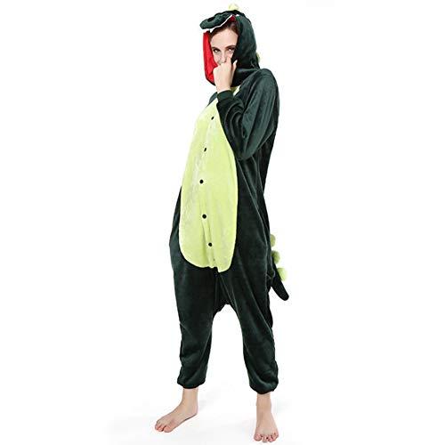 Love Home Cartoon Siamese Pyjamas Unisex Erwachsene Tier Dinosaurier Nachtwäsche Mit Kapuze Cosplay Kostüm Klimatisierte Kleidung,Green,L (Erwachsene Dinosaurier-strampelanzug Für)