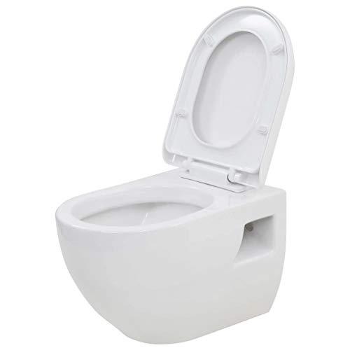 vidaXL Inodoro de Montaje en Pared de Cerámica Blanco Baño Casa Hogar Aseo WC