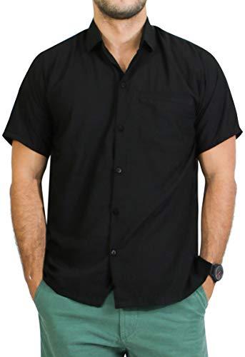 LA LEELA Casual Oficina Camisa Hawaiana Manga Corta