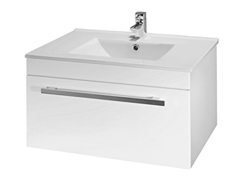 VeeBath Sphinx 600mm White Gloss Wall Hung Vanity Unit With Ceramic Basin Sink - Bathroom Storage Unit Furniture Cabinet