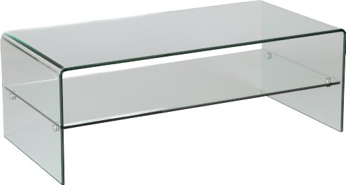 Destock Meubles Couchtisch aus Glas, gebogen, 1 Einlegeboden -