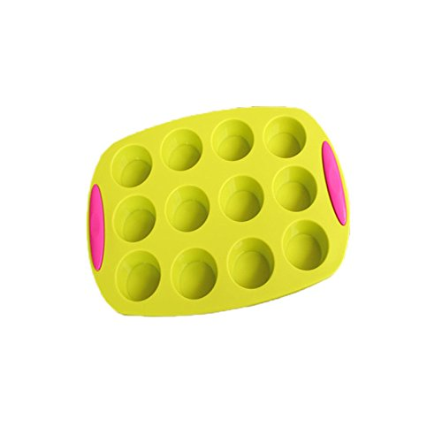 JER Nonstick 12-Cup Mini Muffin Cupcake Pan, Silicone Cake Bakeware with Handle(Yellow Green)
