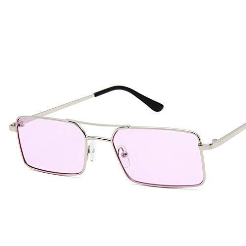 MJDABAOFA Sonnenbrillen,Mode Winzig Schmale Rechteck Silber Rahmen Lila Objektiv Sonnenbrille Frauen Dünne Kleine Sonnenbrille Vintage Lady Gläser