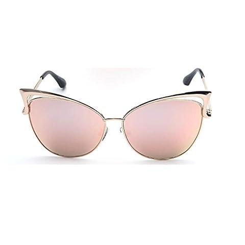 Xiahbong Frauen Mode Orecchiette Entwurf Gläser Metall Spektakel Rahmen Sonnenbrillen (Rosa)