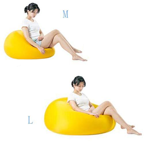QMKJ Doux Waxy Haute élastique Sac de Haricots Forme aléatoire Sac de Haricots Chaise intérieure et extérieure Mat Balcon Baie fenêtre Lounger canapé pour Les Enfants Adultes L,Yellow
