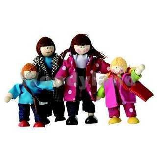 4 tlg. Set - Holzpuppen / Biegepuppen für die Puppenstube - FAMILIE - PUPPE HOLZ WOODY - Puppenstuben Puppen