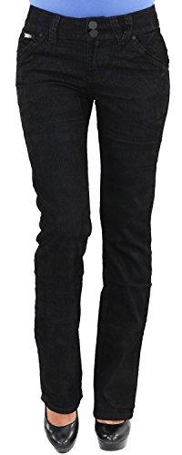 Damen Cordhose Hüft Stretch Hose Gerader Schnitt Straight Leg Gerades Bein Übergröße Blau Schwarz 3XL/46 XRL8013-S