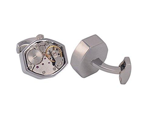 Gudeke Französisch Shirt Cuff Nagel Herren-Business-Geschenke mechanische Uhrwerk Manschettenknöpfe (silver 1)