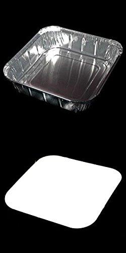 50 X gros de Plateaux et couvercles bifteck. Parfait pour Barbecues, Kebabs et servir des aliments. (Longueur-22cm x Largeur 22cm-x Profondeur-3.8cm)