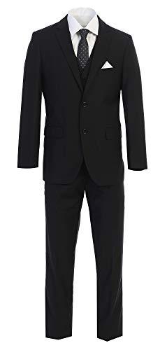 King Formal Wear Eleganter Herren-Anzug mit Zwei Knöpfen, Schwarz - Schwarz - 48 Kurz -