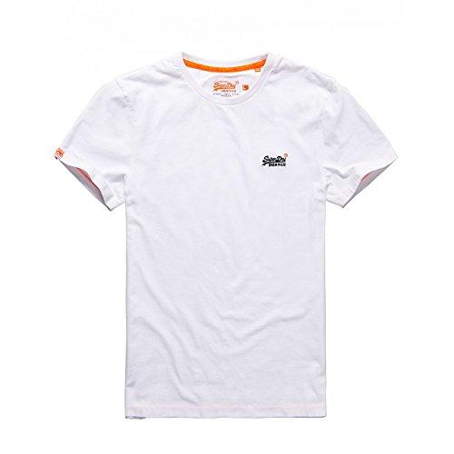 Superdry Herren T-Shirt Orange Label Vintage Emb Weiß