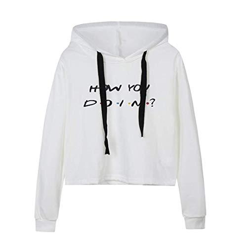 MEIbax Frauen Crop Hoodie Langarm Shirt Damen Buchstabe Druck Pullover Sweatshirt Oberteile Bluse Sweatjacke