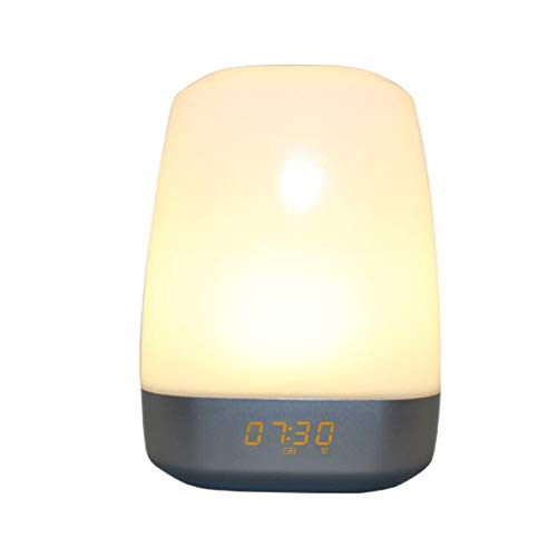 JZWX Reloj Despertador analógico Sunrise Wake Light Multifunción Atmósfera de Color Luces de cabecera Reloj Despertador Luminoso Wake Light LED Sunrise 5 Luz analógica de Sonido Natural táctil