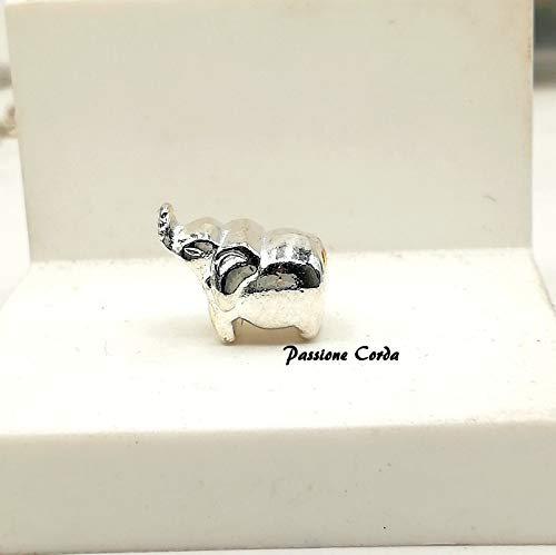 mod. Pandora Ciondoli ELEFANTE PORTAFORTUNA in metallo CHIARO per bracciali/collane/portachiavi nichel free
