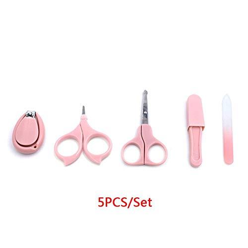 Maniküre Werkzeug 5-teilig Set Edelstahl Zwei Schere Baby Pflegeset Mini Nagelfeile Süß Nagel Knipser Pinzette Hase Form Plastik für Neugeborene(Rosa)