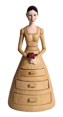 Schmuckschatulle Dame Mädchen Kommode Biedermeier Figur Palazzo Exclusiv CW030 Barock-skulptur