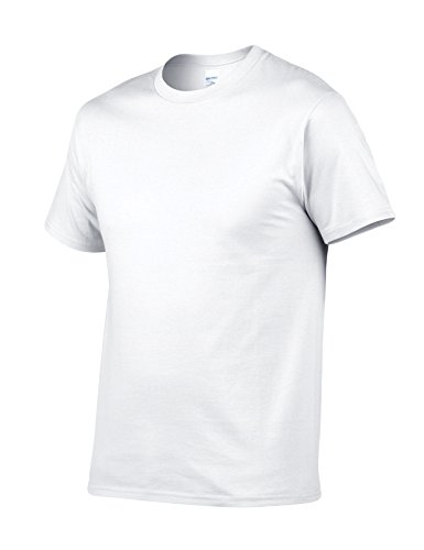 Bestgift Herren T-Shirt Kurzarm Baumwolle Tee Solide Farbe Basic Shirt Tops Weiß