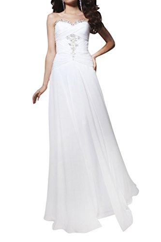 ivyd ressing Femme scheind Cœur de la découpe de longue mousseline pierres strass robe du soir ballon keider Blanc - blanc