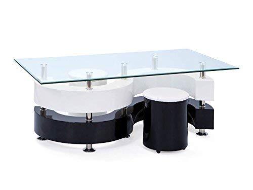 Inter Link 50100015 Couchtisch Glastisch Wohnzimmertisch Wohnzimmer Tisch Glas 2 Hocker schwarz weiß -