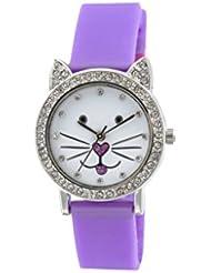 Tikkers Kinder Quarz-Uhr mit weißem Zifferblatt Analog-Anzeige und Violett Silikon Gurt tk0107