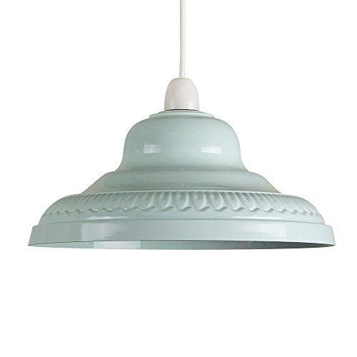 MiniSun – Schöner, Hellblauer und Retro Lampenschirm aus Metall – für Hänge- und Pendelleuchte