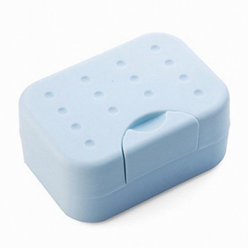 Travel Soap Box Case Holder Container – BUYDirect - Home Outdoor Hiking Camping Plastic Durable Soap Dish with Spirogyra – Blue