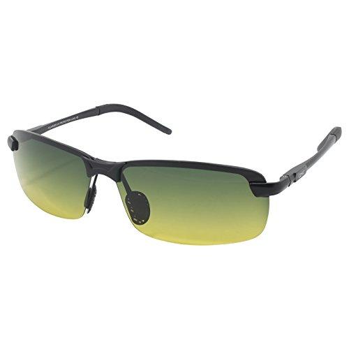LZXC Tages- und Nachtsicht-Polarized Driving Sunglasses Outdoor Sport Brillen Unzerbrechlich Ultraleicht Einstellbar AL-MG Rahmen für Skifahren, Radfahren, Angeln, Laufen, Jagen, Golf für Männer