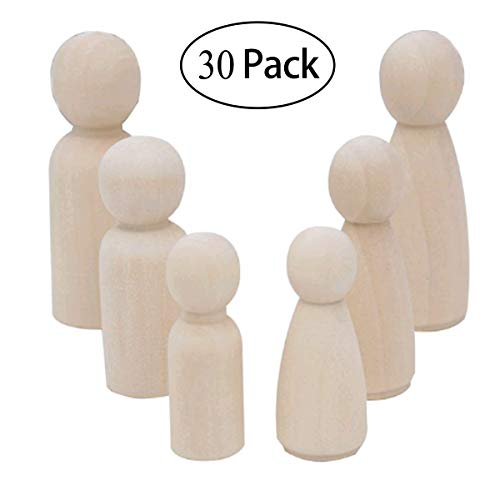 Mengger Wooden Doll solid peg Man Woman Toys Unfinished Natural Painting Art Baby Teether Figures Bride Cake Wedding Decoration Christmas DIY 30 Pieces