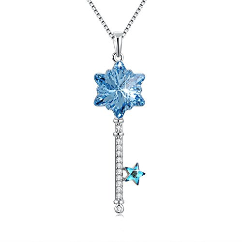 sues-secret-wisdom-independence-confidence-blue-snowflake-princess-key-chain-ladies-necklace-jewelry