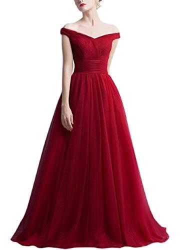 Romantic-Fashion Damen Ballkleid Abendkleid Brautkleid Lang Modell E270-E275 Rüschen Schnürung Tüll DE Bordeauxrot Größe 34
