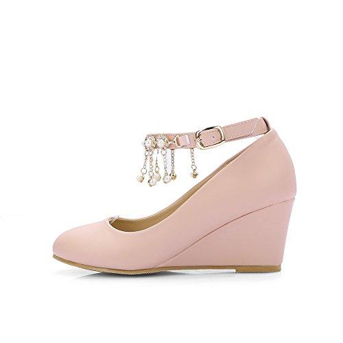 AllhqFashion Femme Rond Boucle Pu Cuir Mosaïque à Talon Correct Chaussures  Légeres Rose ...