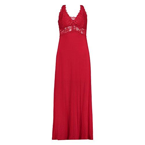 Hunkemöller Damen Langes Slipdress, Modal Lace 114814 Rot S