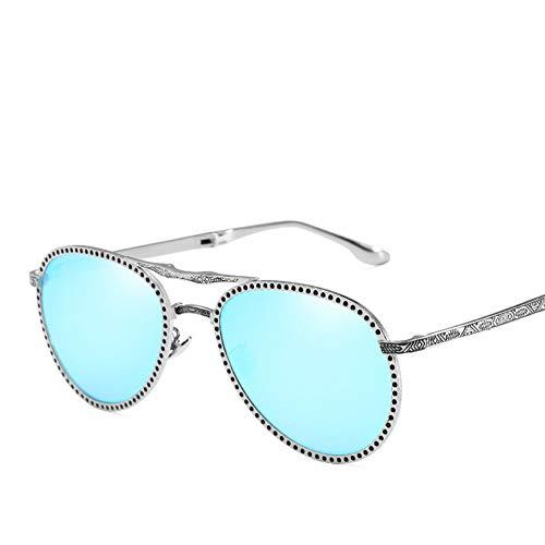 GZFENG Sonnenbrille Für Damen Und Herren Uv 400 Schutz Europa Die Vereinigten Staaten Trend Metall Bequem Folding Mode Metallrahmen Doppelstrahl Gläser Silber Rahmen Ice Blue Tablets