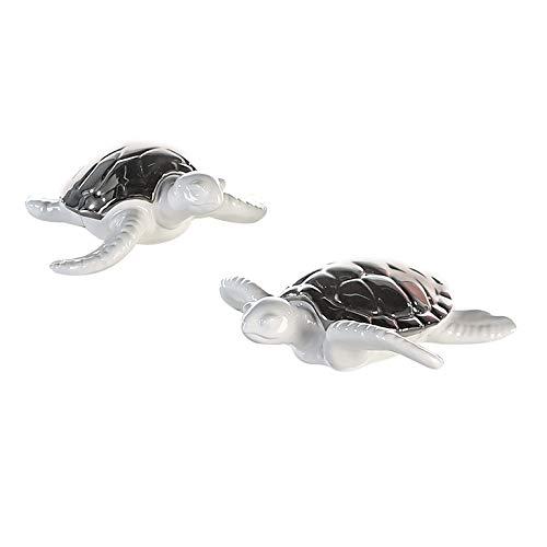 1 x Schildkröte Marlin Keramik weiß glasiert silberner Panzer Breite 16 cm, Figur, Badezimmer, Bad, Tierfigur