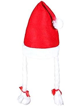 Set di 6 cappelli Babbo Natale peluche con 2 codini per bambini (wm-08) cappellino rosso con bordino bianco taglia...