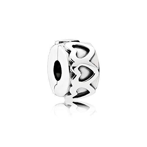 Pandora Moments Gereihte Herzen Clip Sterling Silber 791978
