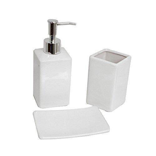 Frandis 196212 - Set da bagno con portasapone, bicchiere porta spazzolino e dispenser in ceramica, 21 x 7 x 18 cm, colore: Bianco