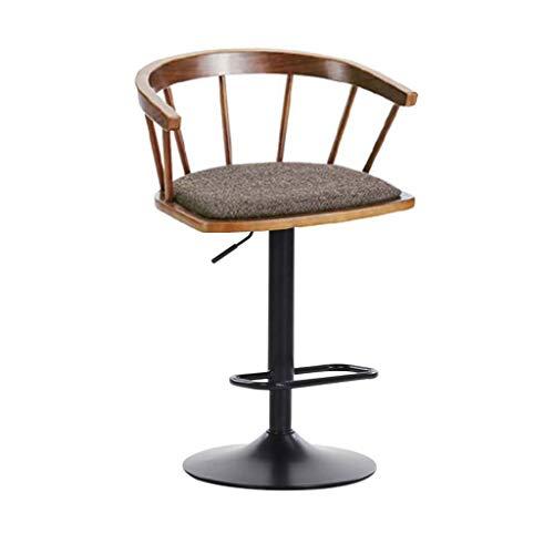 Zurück Bar Stuhl (Europäische Retro Hydraulische Massivholz Sitz Barhocker, Metallhocker Bein Sicherheit Zurück Bar Stuhl, Home Kitchen Cafe Bar Counter Hocker Stuhl)