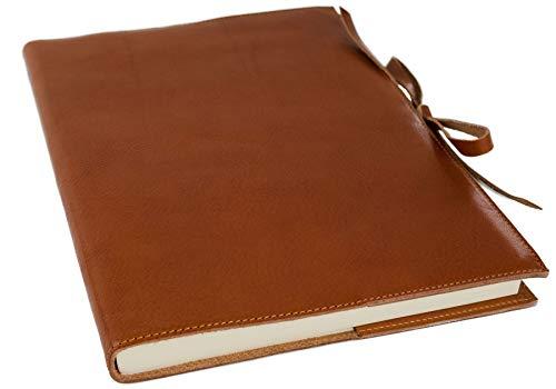 Brown Italienischen Leder Handgefertigt (Rustico Leder Nachfüllbares Notizbuch Sattelbraun, A4 Blanko Seiten - Handgefertigt in Italien von LEATHERKIND)