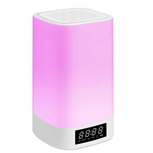 FENGCLOCK Wake up Wecker LCD Lichtwecker, Intelligenter Wireless Bluetooth Lautsprecher Dimmbar Stimmungslicht Radiowecker Tischlampe, Freisprechen Geschenk Uhr
