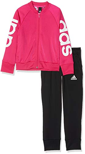 adidas Mädchen Polyester Trainingsanzug, Real Magenta/White/Black, 170