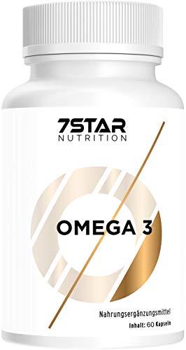 7 Star Nutrition – Omega-3 Fischöl-Kapseln – Hochdosiert – 1000mg Pro Kapsel – Mit 180mg EPA und 120mg DHA pro Omega 3 Softgel Kapsel - Hergestellt in Deutschland