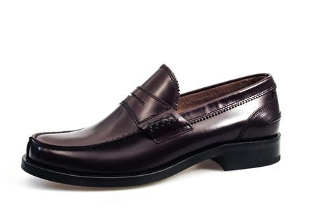 Soldini scarpe uomo, modello 14566, scarpe mocassino in pelle spazzolata, colore bordò