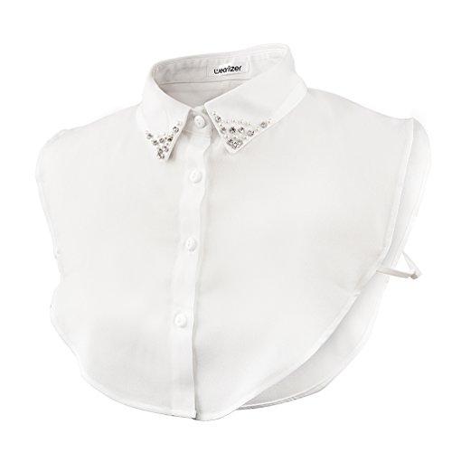 Wearlizer Frauen Kragen Abnehmbare Hälfte Shirt Bluse mit Strass Weiß (Chiffon Perle Strass)