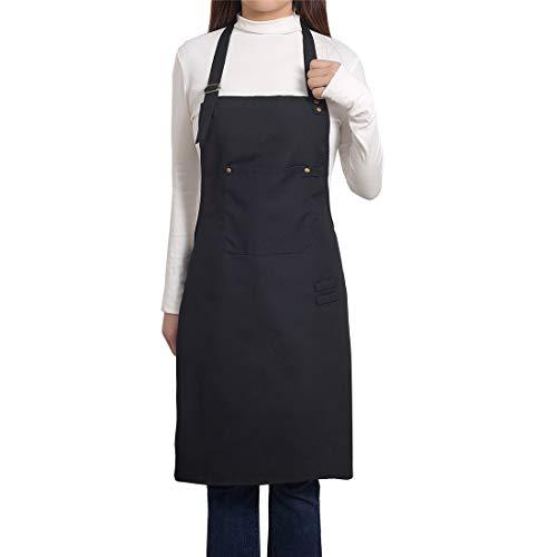 PEFF Professionelle Leinwand Baumwolle Schürzen Unisex Einstellbare Hals Schürze mit Taschen für Köche Kochen/Reinigung / Küche/Restaurant Schwarz