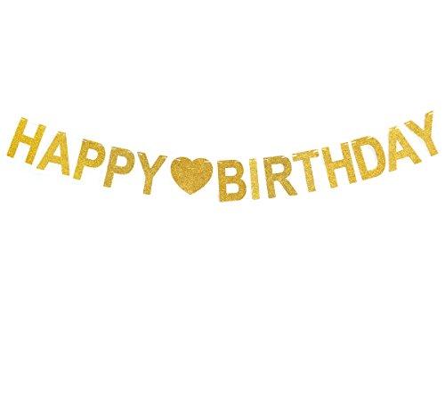 tstag Happy Birthday herzlichen glueckwunsch zum geburtstag viel glück zum geburtstag Goldpulver Party Dekorationen (Gold-herzlichen Glückwunsch-banner)