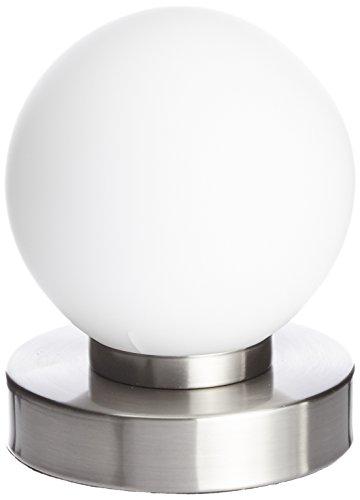 Reality Kugellampe Tischleuchte, TouchMe Dimmer, Nickel matt ~ weiß